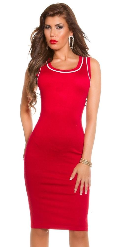 Červené šaty z úpletu - Koucla - Úpletové šaty - vasa-moda.sk 50aa543d58