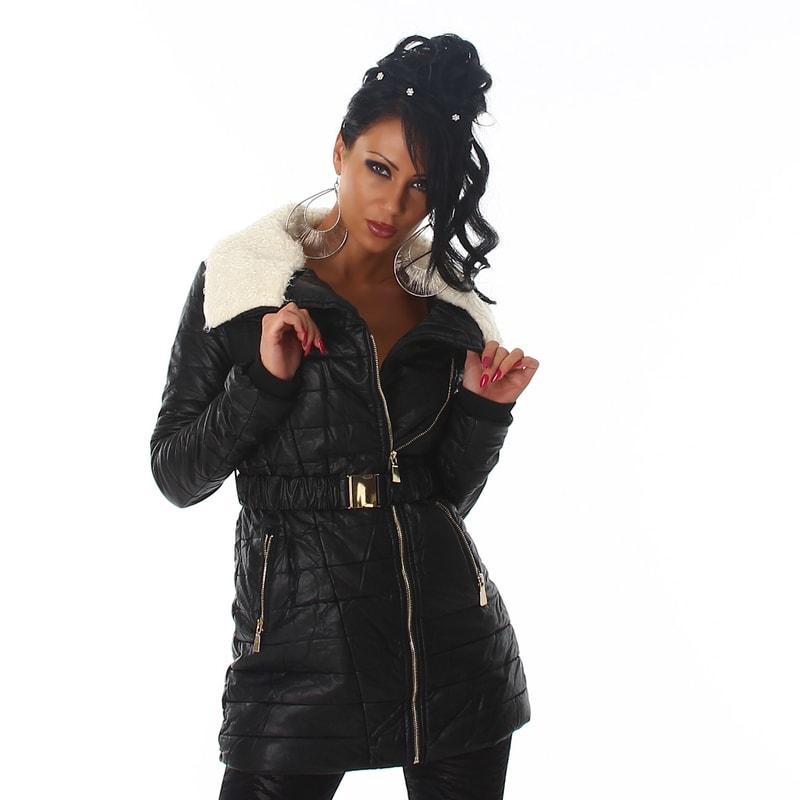 Koženková zimná bunda - Voyelles - Bundy dámske zimné - vasa-moda.sk 46299847853