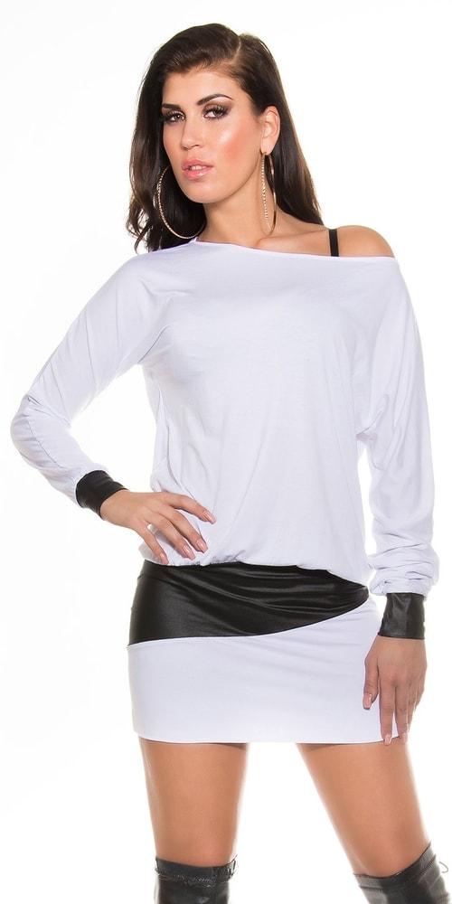 Trendy dámske mini šaty - Uni Koucla in-ha1051wh