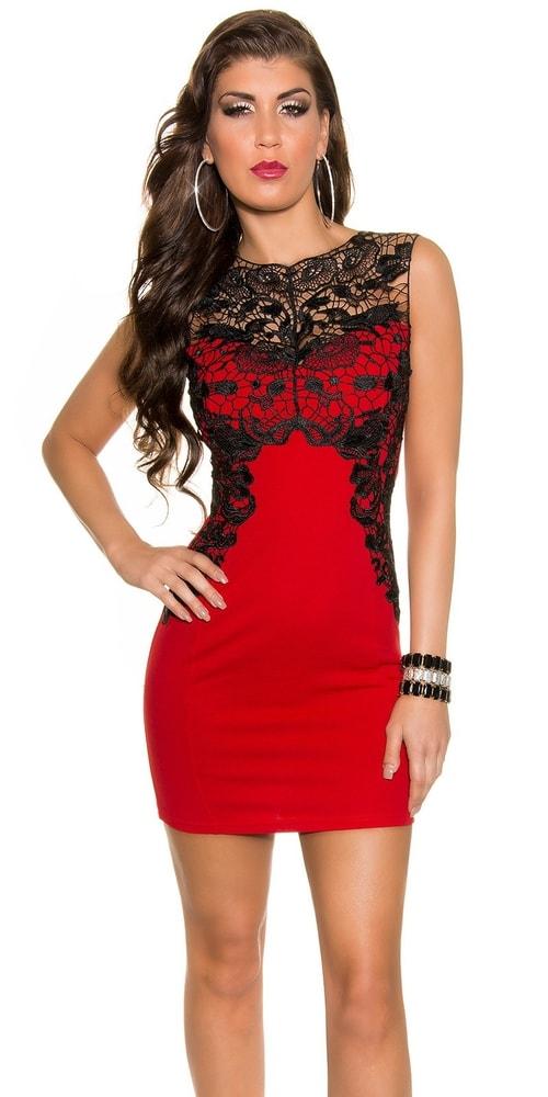 Červené šaty s čipkou - Večerné šaty a koktejlové šaty - vasa-moda.sk c20c00a00c