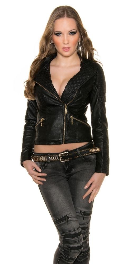 Čierna koženková bunda - Koucla - Bundy dámske koženkové - vasa-moda.sk 773569ac02f