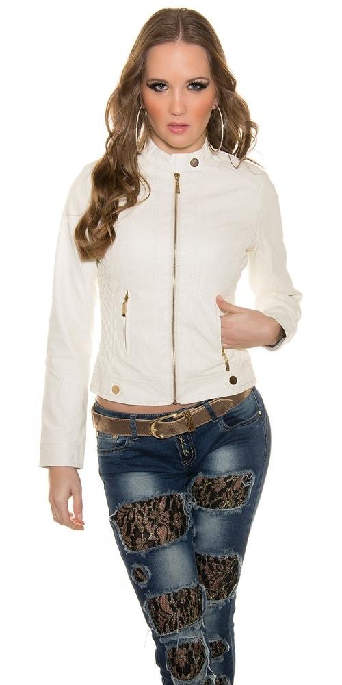 Biela koženková bunda - Koucla - Bundy dámske koženkové - vasa ... 037adbbfddf