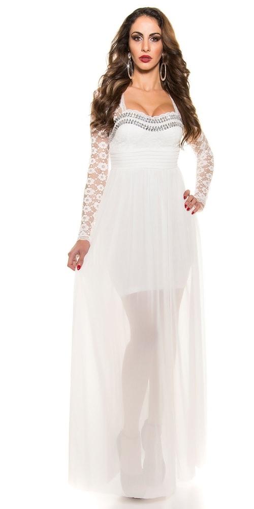Krásne biele plesové šaty - Koucla - Dlhé plesové šaty - vasa-moda.sk a7a4ef2b75c