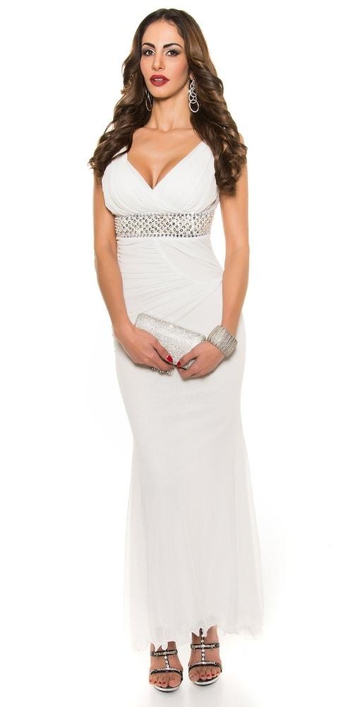 Biele dlhé večerné šaty - Koucla - Večerné šaty a koktejlové šaty ... 26443d6dcb6