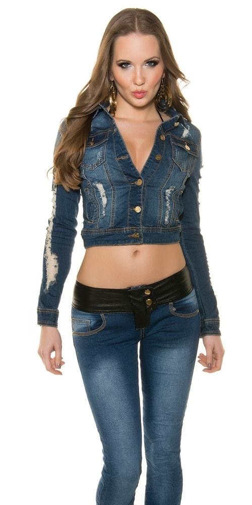 Krátka dámska džínsová bunda Koucla in-bu1101