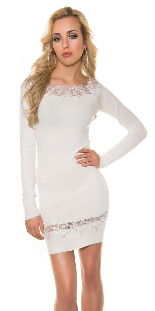 Biele úpletové šaty - Koucla - Úpletové šaty - vasa-moda.sk c54f90b185f