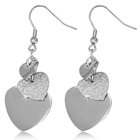 Visací ocelové náušnice - srdce - DAMSON - Náušnice z chirurgické ... c2932b85fb3