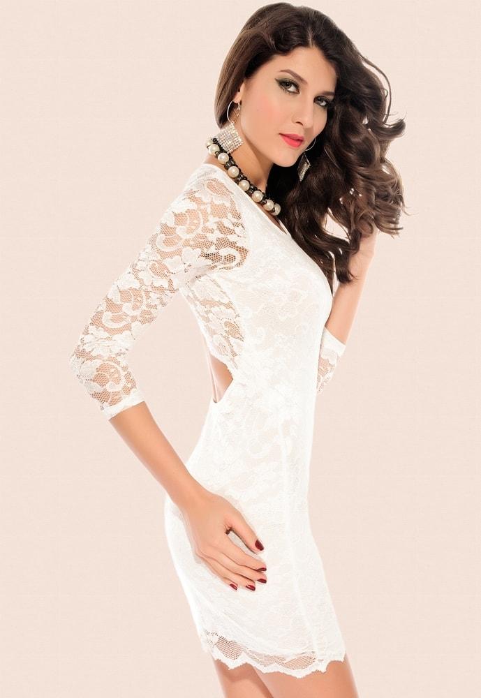 fbec8ca818f Krajkové bílé šaty - DAMSON - Večerní šaty a koktejlové šaty - i-moda.cz