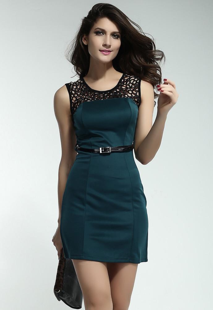 Zelené šaty s páskem - DAMSON - Večerné šaty a koktejlové šaty ... c79837e199