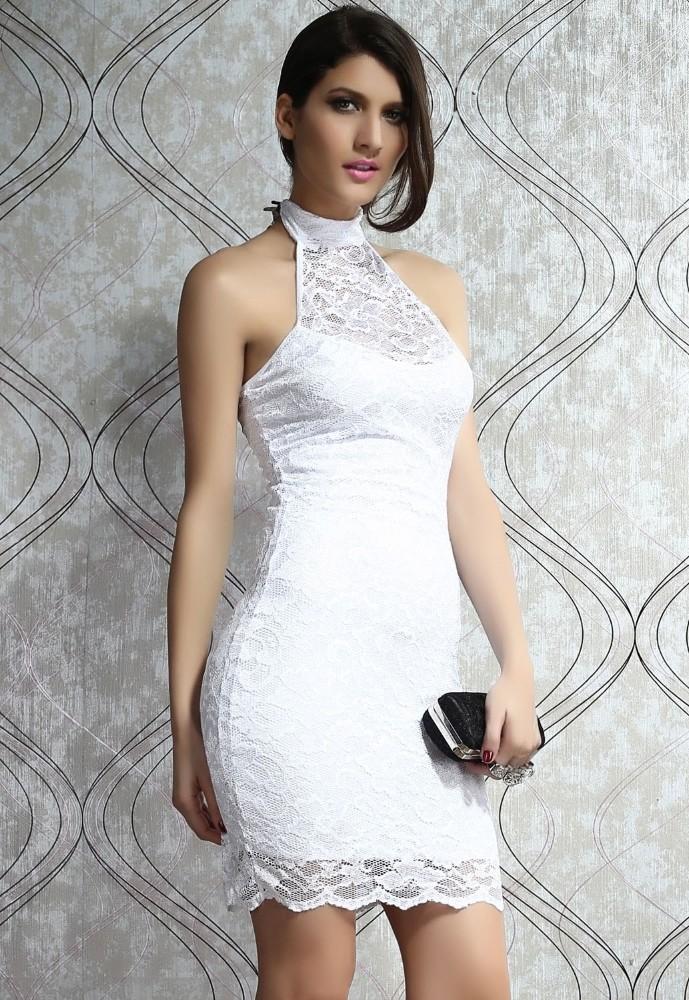 8e5ef5a8f48 Bílé krajkové šaty - DAMSON - Večerní šaty a koktejlové šaty - i-moda.cz