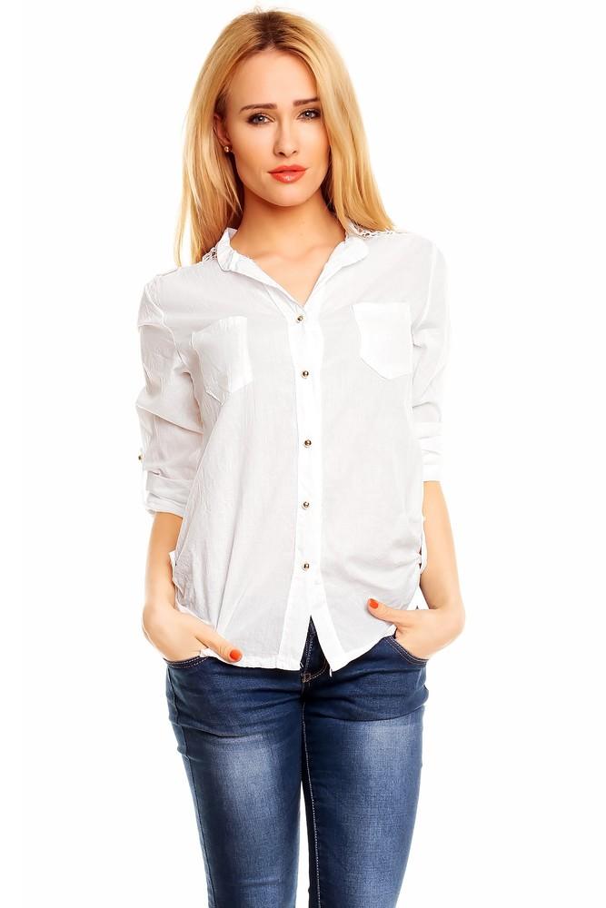 Bílá dámská košile - Best Emilie - Dámské halenky - i-moda.cz 2d99d9fec5