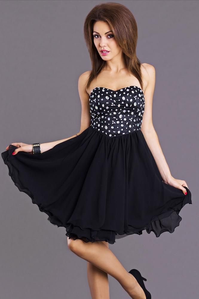 Černé šaty na ples - Emamoda - Krátké plesové šaty - i-moda.cz 07435af443