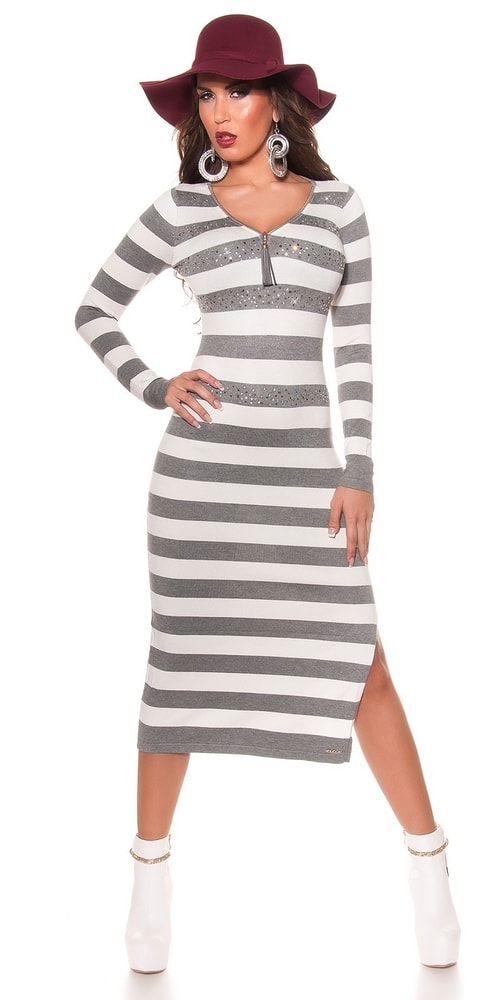 Dámske dlhé prúžkované šaty-šedé - Koucla - Úpletové šaty - vasa ... b223076f408