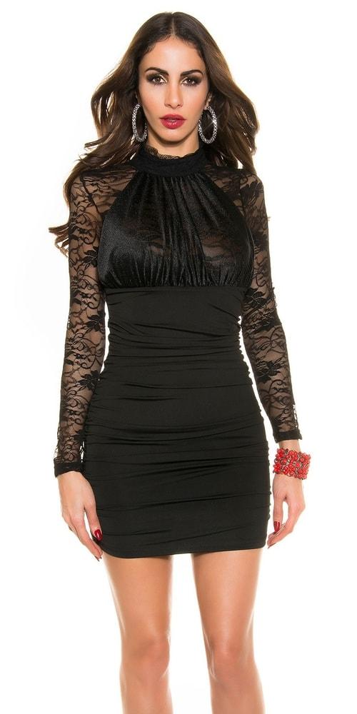 Čierne minišaty s čipkou - Koucla - Večerné šaty a koktejlové šaty ... 3d087da1835