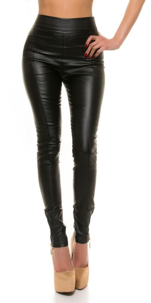 Koženkové nohavice dámske čierne - L Koucla in-ka1021bl