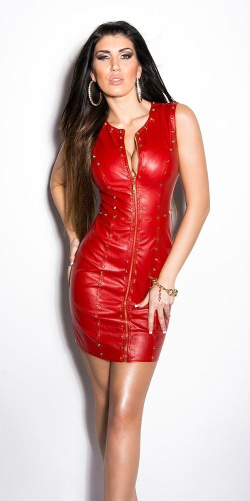 Фото красных кожаных платьев
