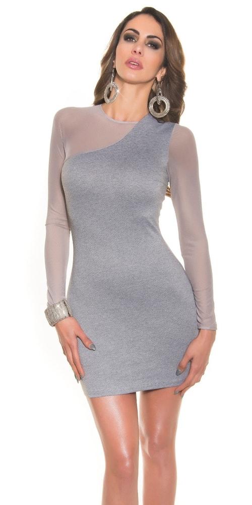 Šedé dámske elegantné šaty - Koucla - Večerné šaty a koktejlové šaty ... 239c18ae12a