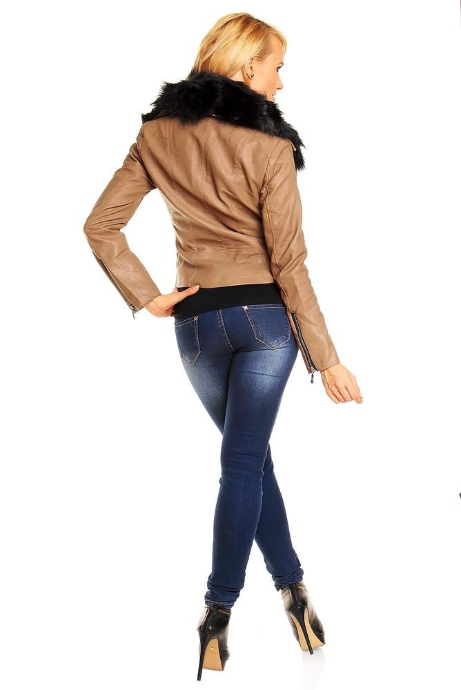 Dámská koženková bunda - hnědá - Voyelles - Bundy dámske jarné a ... 41040ff24dd