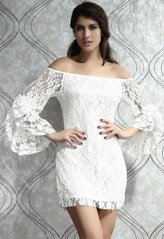 7f5a3583e8a Bílé krajkové minišaty. Domů ›  Dámské šaty ›  Společenské šaty ›  Večerní  šaty a koktejlové ...