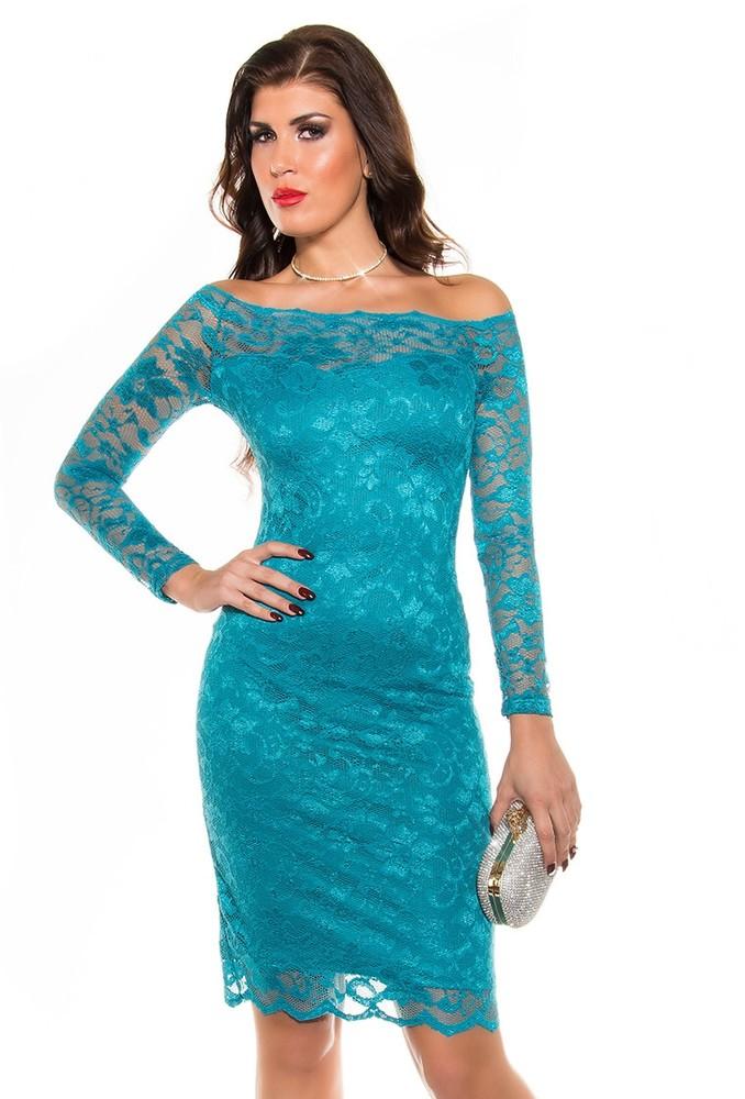 Večerní krajkové šaty - modré - Koucla - Večerní šaty a koktejlové šaty ... 549f6ad722c