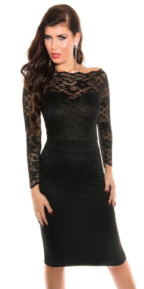 Večerné šaty s krajkou - čierné - Koucla - Večerné šaty a koktejlové ... 345a966240d