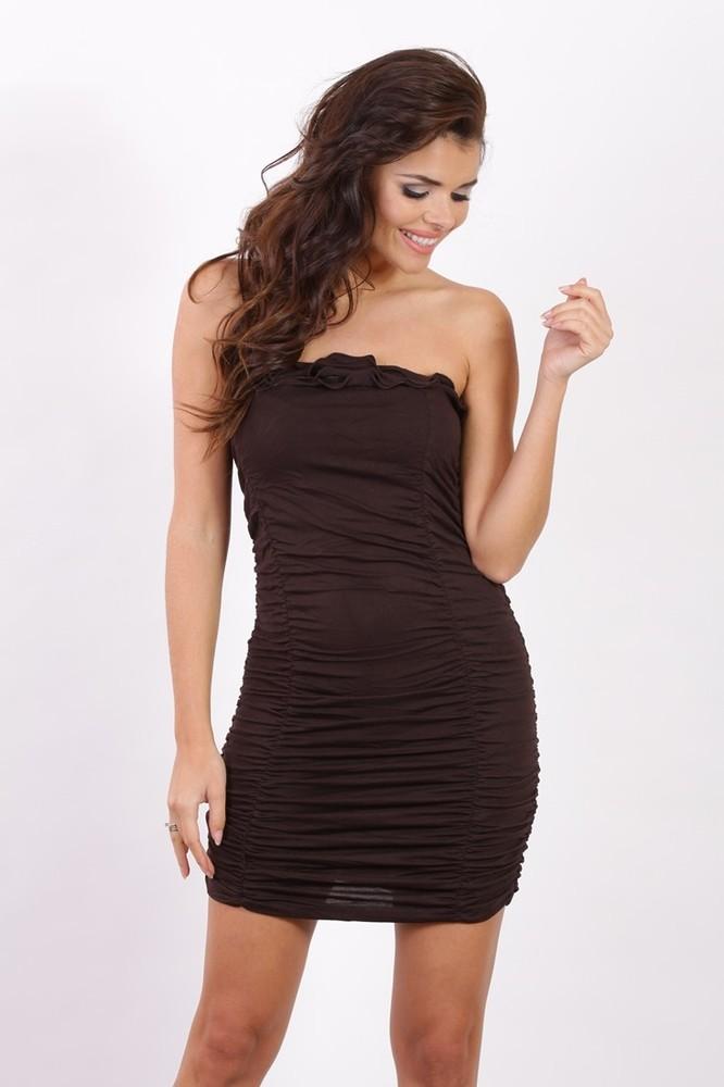 Tmavě hnědé letní šaty - Fashion H. - Krátké letní šaty - i-moda.cz b402f33cb7