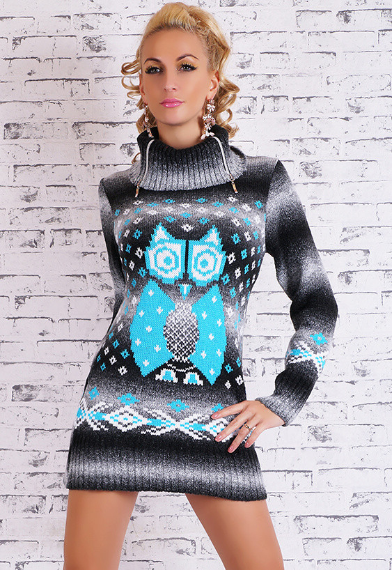 Dámský pletený svetr se sovou - EU - Tuniky - i-moda.cz 78ced85642