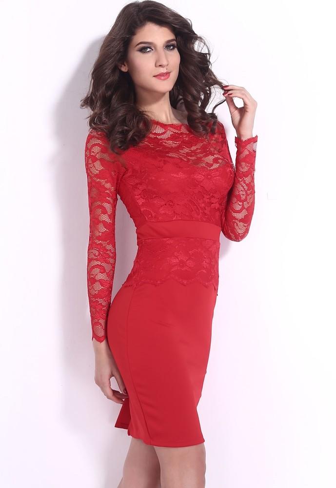 Červené krajkové šaty - DAMSON - Večerné šaty a koktejlové šaty ... 2f478331885