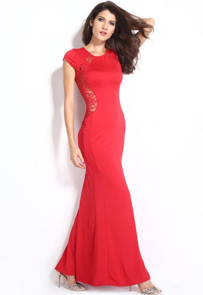 dd2ee75526e Dlouhé společenské šaty červené - DAMSON - Večerní šaty a ...