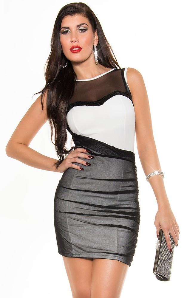 129be0bd7d4 Dámské večerní šaty bílo-černé - Koucla - Večerní šaty a koktejlové ...