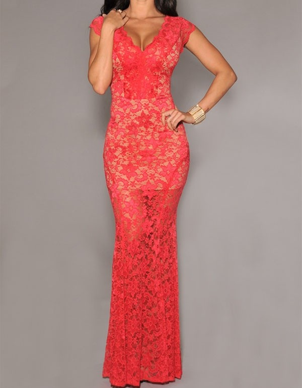 d810e4f25b4 Dlhé spoločenské šaty červené - DAMSON - Večerné šaty a koktejlové ...