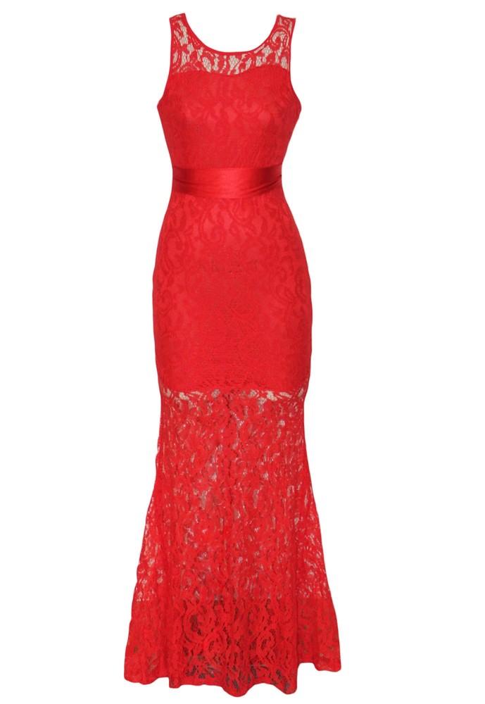6a70355031b Červené krajkové šaty dlhé - DAMSON - Večerné šaty a koktejlové šaty ...