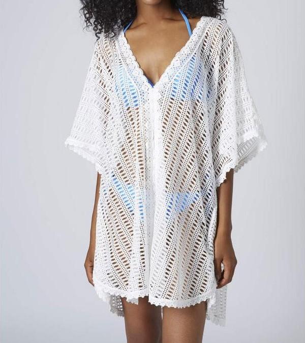 Bílá plážová tunika - DAMSON - Plážové šaty - vasa-moda.sk eb2423e828