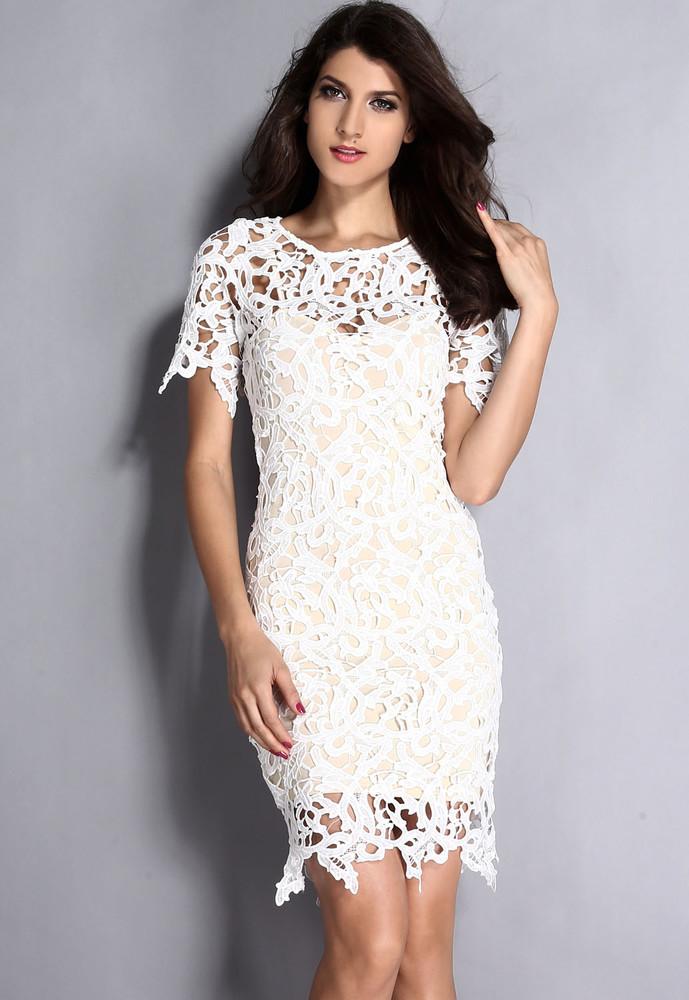 773565f0100 Dámské krajkové šaty - bílé - DAMSON - Večerní šaty a koktejlové ...
