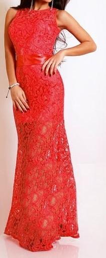 Červené krajkové šaty dlhé - DAMSON - Večerné šaty a koktejlové ... acd2a800859