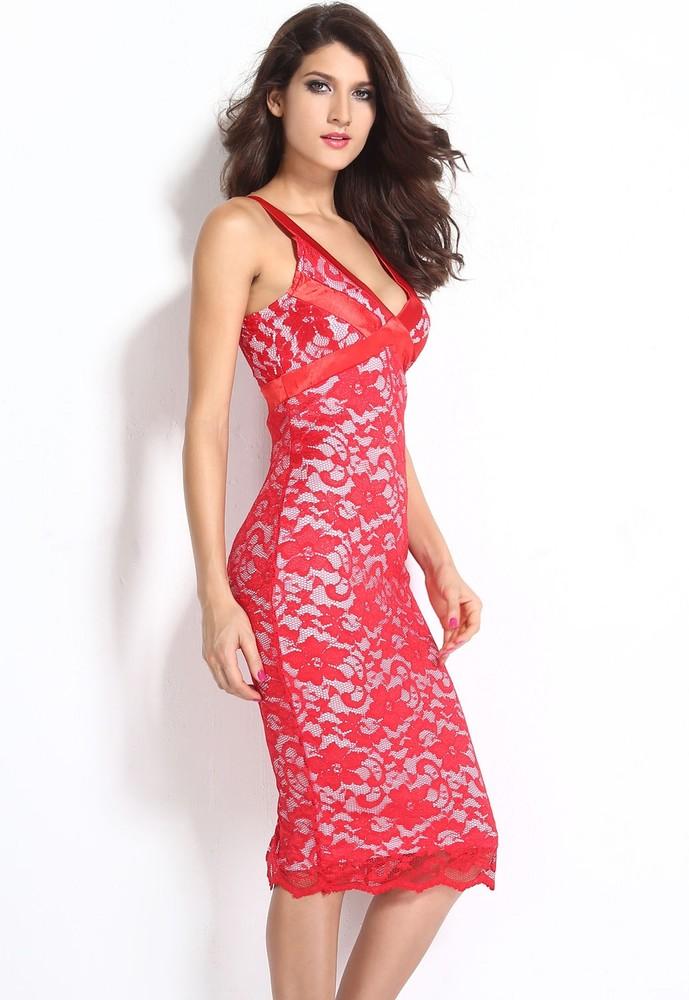 Večerní červené šaty s krajkou - DAMSON - Večerné šaty a koktejlové ... 203c6f405ae
