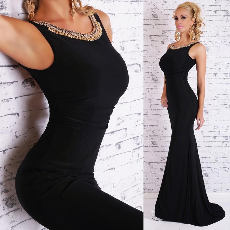 Čierne elegantné šaty dlhé - EU - Večerné šaty a koktejlové šaty ... 051d0a89eee