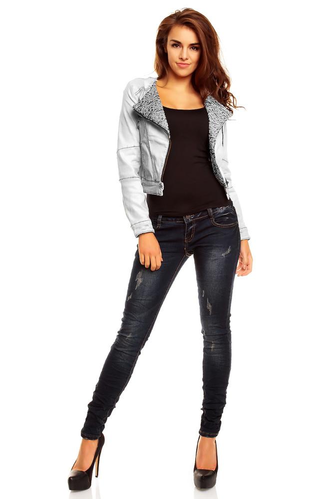 Krátká džínová bunda - EU - Bundy dámske jarné a jesenné - vasa-moda.sk 405f6947602