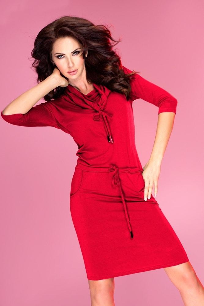 Červené dámské šaty 44-13 - Numoco - Denní šaty - i-moda.cz c4fb52566b