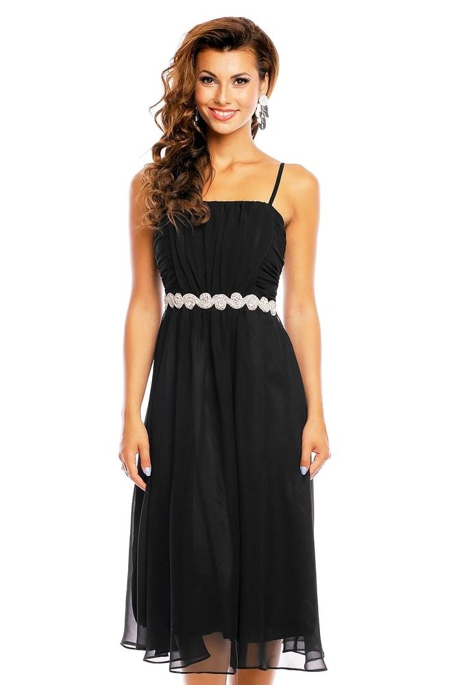 Spoločenské čierne šaty na ramienka - EU - Krátke plesové šaty ... 123d67d1142
