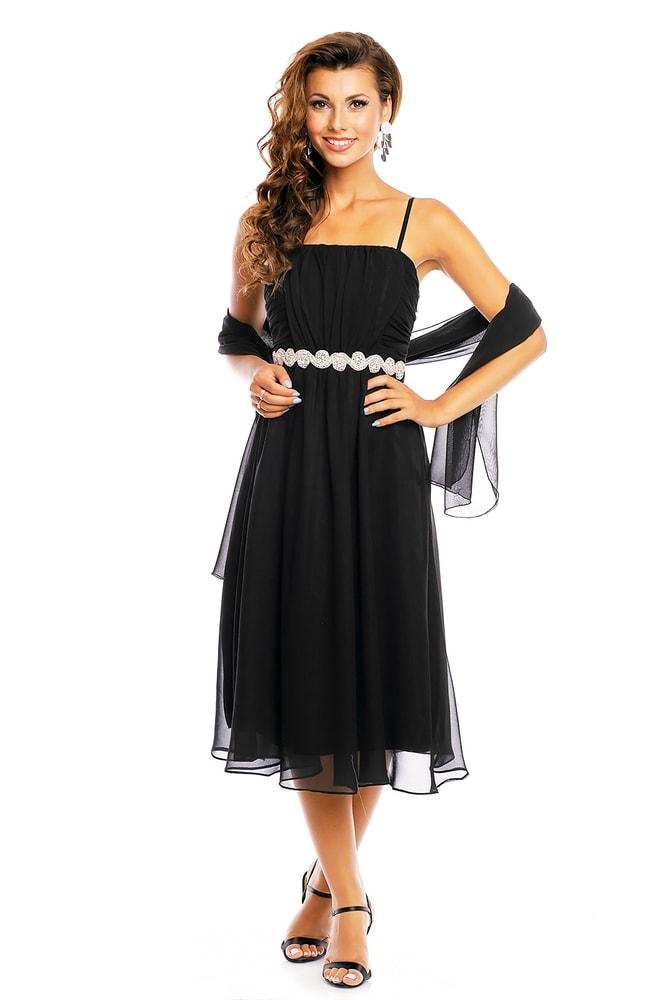 Spoločenské čierne šaty na ramienka - EU - Krátke plesové šaty ... 368c41da1df