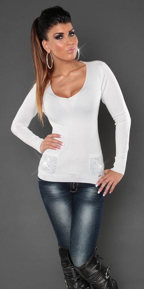 Bílý svetr dámský s kapsami - Koucla - Dámské svetry - i-moda.cz 3a865cdc23