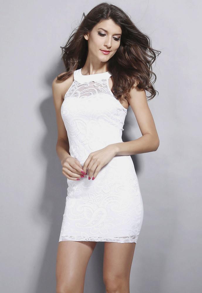 Krajkové mini bílé šaty - DAMSON - Večerní šaty a koktejlové šaty - i ... 9de501234a4