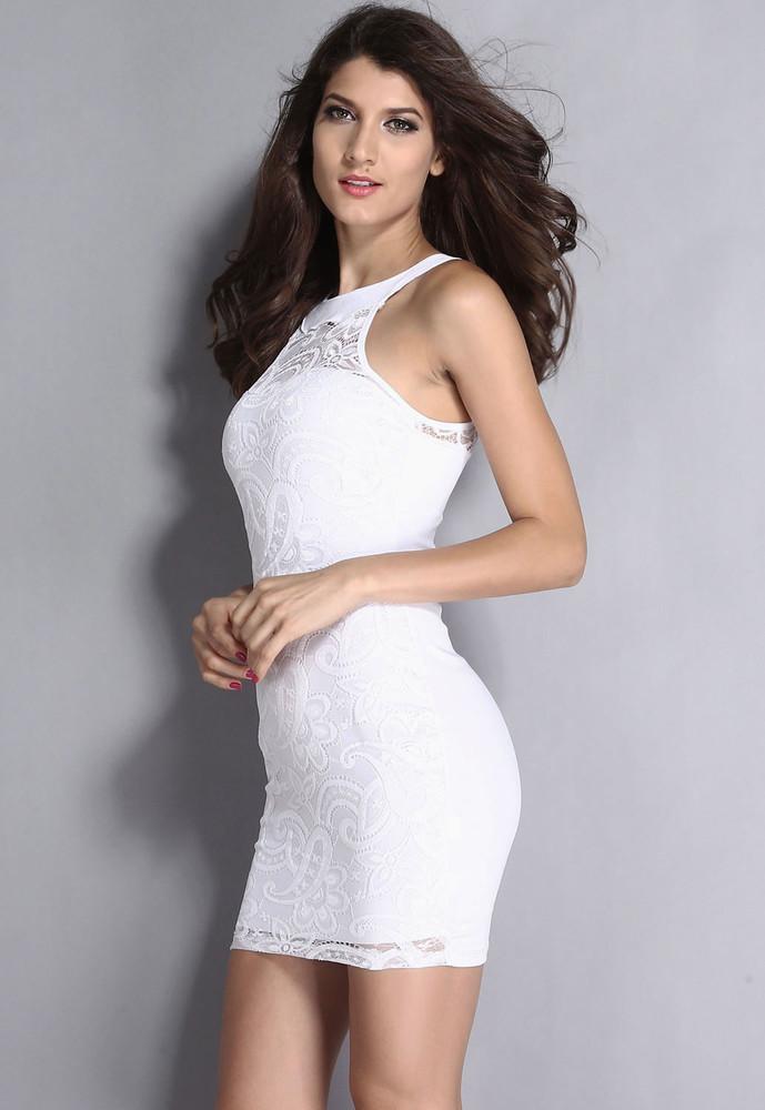57f4bd29f80 Krajkové mini bílé šaty - DAMSON - Večerní šaty a koktejlové šaty ...