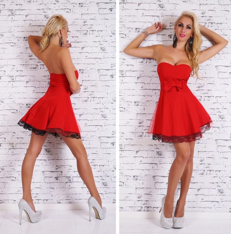 Krátke dámske šaty červené - EU - Krátke plesové šaty - vasa-moda.sk 33e1cef3e9