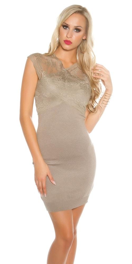 Dámske úpletové šaty s čipkou - Uni Koucla in-sat1402ca 177d2d4fb1