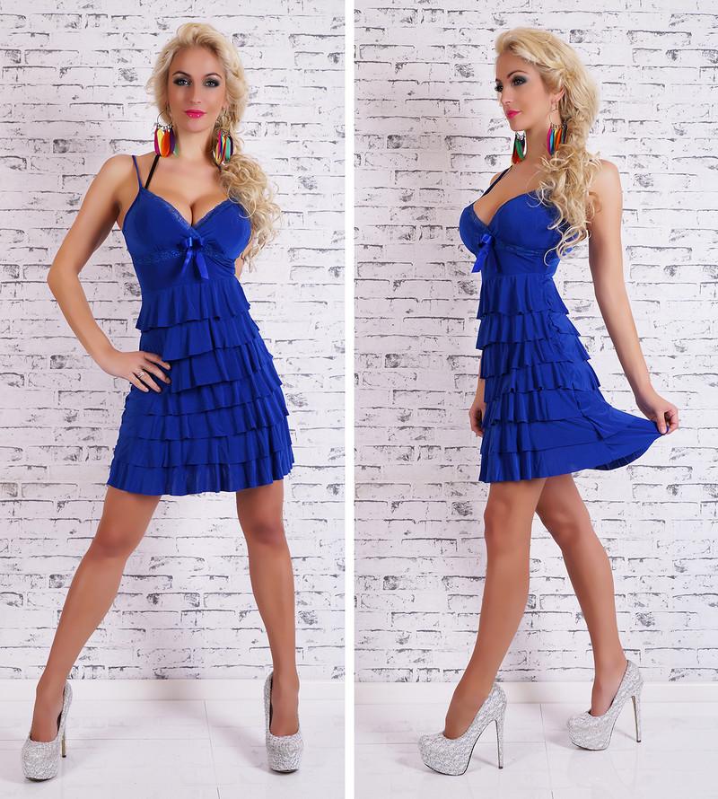 Letné modré šaty s volánikom - EU - Krátke letné šaty - vasa-moda.sk 3b902f3c187