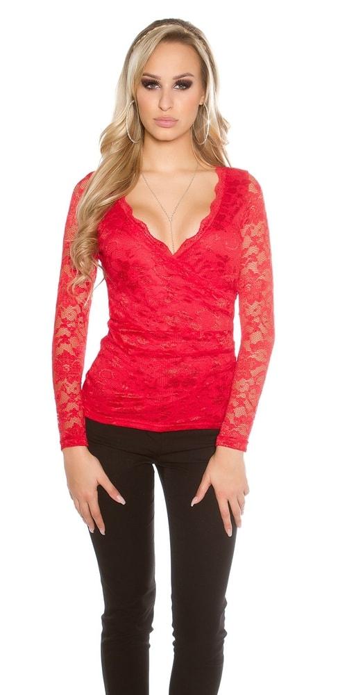 Červená dámska blúzka - L/XL Koucla in-ha1157re
