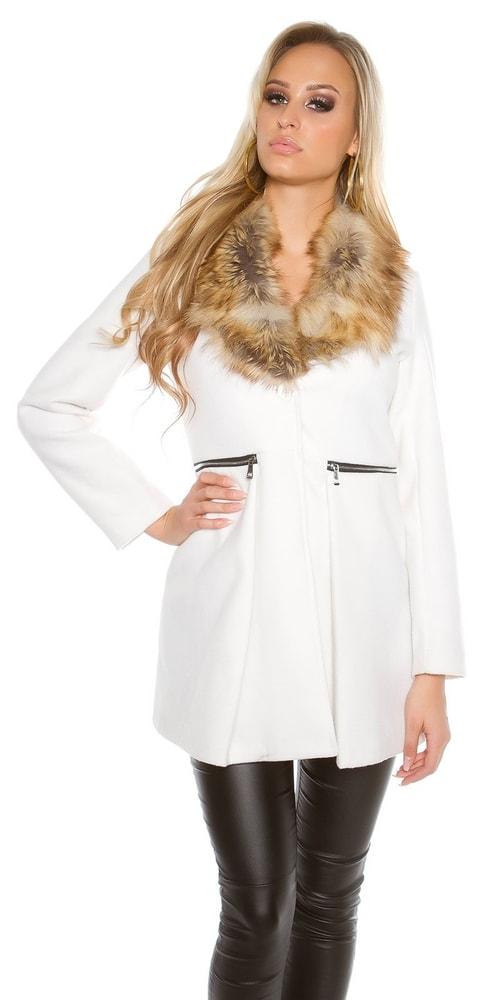 356be53ee5c Bílý kabát dámský - Koucla - Dámské kabáty zimní - i-moda.cz