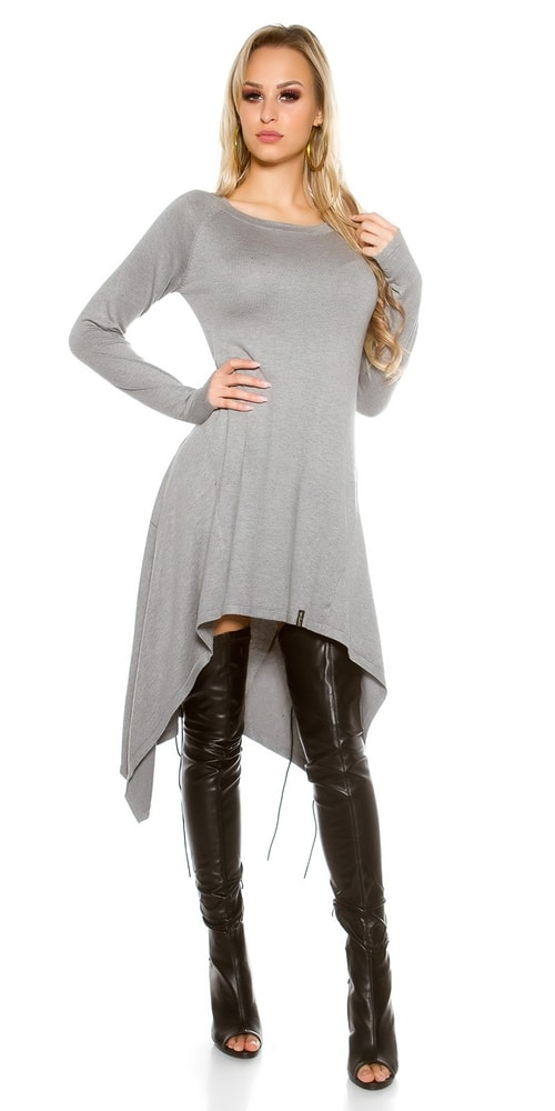 Dlhé úpletové šaty-šedé - Koucla - Úpletové šaty - vasa-moda.sk 32c4496d333